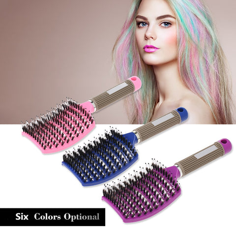Curved Boar Bristle Hair Brush Professional Detangling Hairbrush Head Massage Comb Hairdressing Styling Comb for Women Men