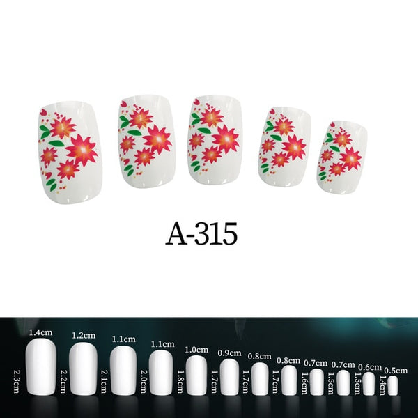 24pcs Fake Nails with Designs 96 Colors Girl Nails Simple and Convenient Operation Nail Tips