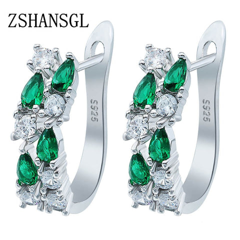 Wholesale Luxury 925 Sterling Sliver Stud Earrings Flash CZ Zircon Ear Studs 3 Colors Earrings For Women Cheap brincos