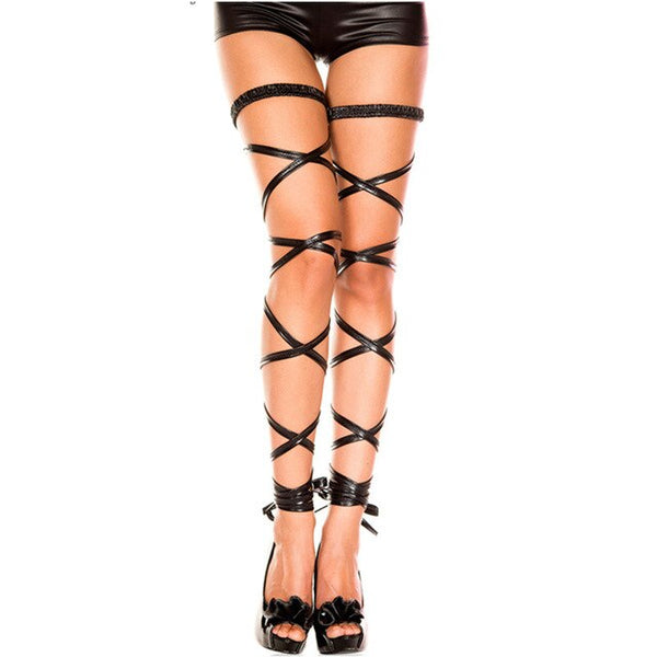 Sexy Lingerie Hosiery Hollow Out Thigh High Bandage Stockings Hold Up Knee High Female Stockings Goth Punk Adjustable Leg Wrap