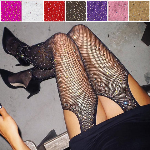 2019 Sexy Women's Glitter Fishnet Tights Open Crotch Mesh Pantyhose Shiny Rhinestone Lady Plus Size Tights Nylons Stockings