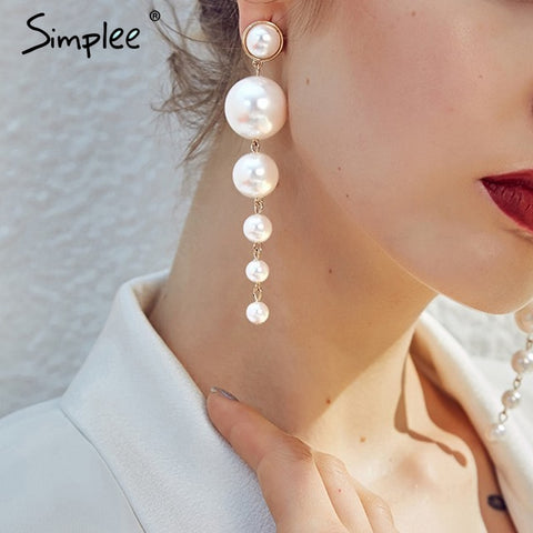 Simplee Fine jewelry pearl drop earrings Women jewelry fashion bijoux accessories Party chic pendant earrings female accessories
