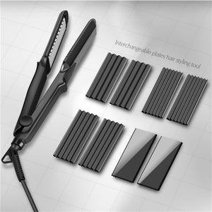 Professional 4 in 1 Hair Straightener Crimper Ceramic Hair Curler Styler Interchangeable Plates Corrugated Curling Flat Iron 38
