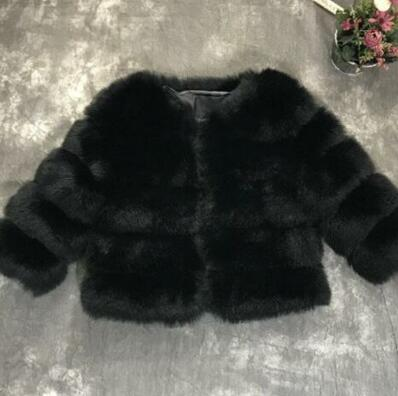 2020 Winter Girls Faux Fur Coat Elegant Baby Girls Fox Fur Jackets And Coats Warm Parka Kids Outerwear Clothes Thick Girls Coat
