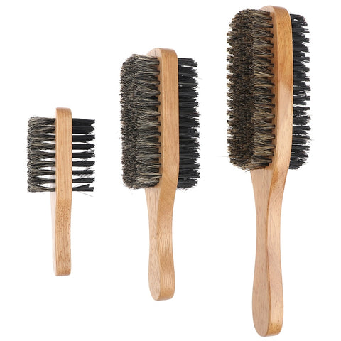 Men Boar Bristle Hair Brush - Natural Wooden Wave Brush for Male, Styling Beard Hairbrush for Short,Long,Thick,Curly,Wavy Hair