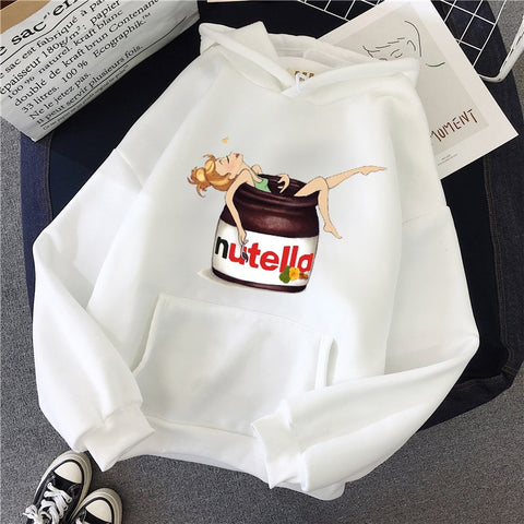 Autumn Winter Loose Harajuku Sweatshirt Nutella Kawaii Print Female Hooded Pullover Tops Women Hoodies Casual Female Clothes