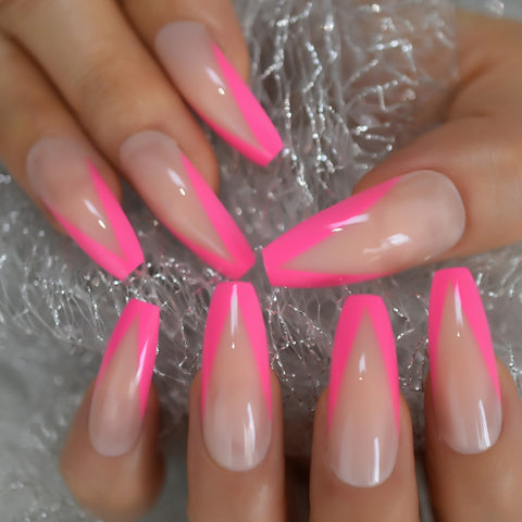 Glossy Rose Pink French Press on False Nails Extra Long Ballerina Coffin UV Gel Glue On Fake Fingersnails Extention Tool