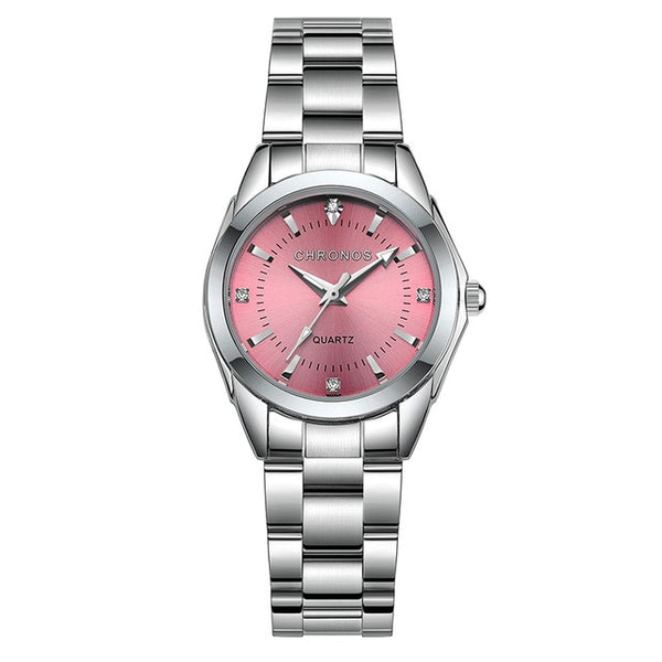 CHRONOS Women Luxury Rhinestone Stainless Steel Quartz Watches Ladies Business Watch Japanese Quartz Movement Relogio Feminino