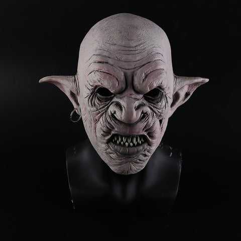 New Cool Goblins Mask with Earrings on the Ear Halloween Horror Mask Creepy Costume Party Cosplay Props Men Latex Scary Mask
