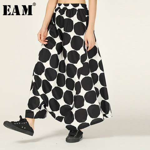 [EAM] High Elastic Waist Black Dot Printed Long Wide Leg Trousers New Loose Fit Pants Women Fashion Spring Autumn 2020 1W552