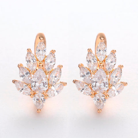 HANRESHE Leaf Shaped Stud Earrings Cute Rose Gold Filled Natural Zircon Earrings Wholesale Punk Jewelry Party Wedding Women Gift