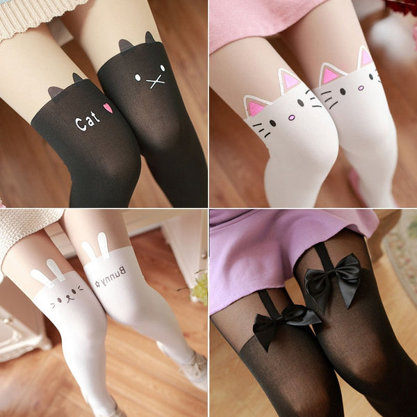70D pantys mujer women sexy fake knee medias stockings Tattoo Cartoon velet cute girl long soild two colors pantyhose tights