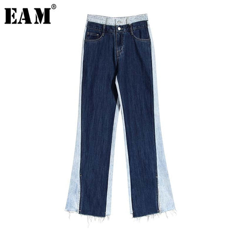 [EAM] High Waist Contrast Color Burr Denim Wide Leg Trousers New Loose Fit Pants Women Fashion Tide Spring Summer 2020 1W322