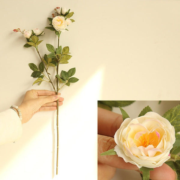 5 Head Silk Camellia Rose Artificial Flowers Long Plastic Stem Wedding Road Lead Faux Flowers Fabric Fake Flower Home Decoration