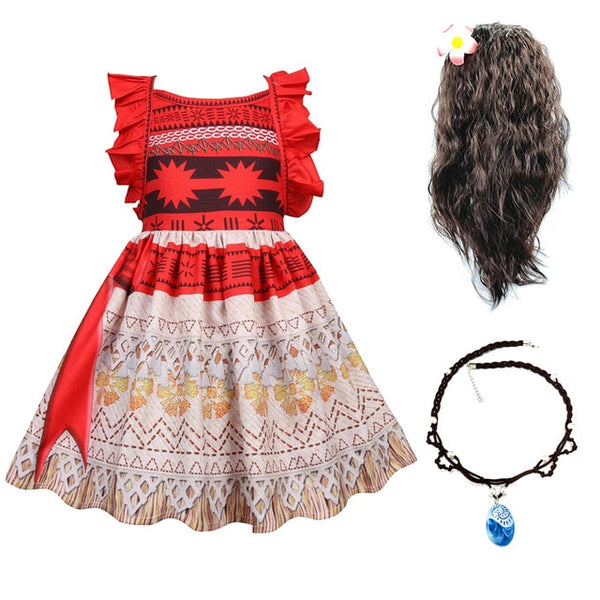 Kids Moana Christmas Costume for Girls Straps Backless Vaiana Summer Dress Wig Children Baby Clothes Carnival Birthday Attire