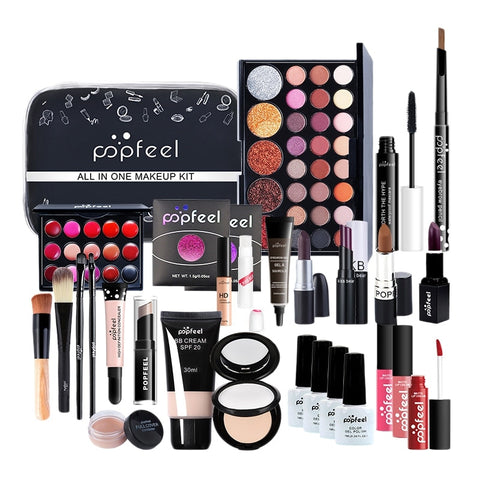 Popfeel 30PCS/Set Make Up Set Cosmetics Kit Eyeshadow Lip Gloss Powder Puff Concealer Polish Nail with Makeup Bag