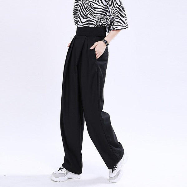[EAM] High Adjust Waist Black Pleated Long Wide Leg Trousers New Loose Fit Pants Women Fashion Tide Spring Summer 2020 1U171
