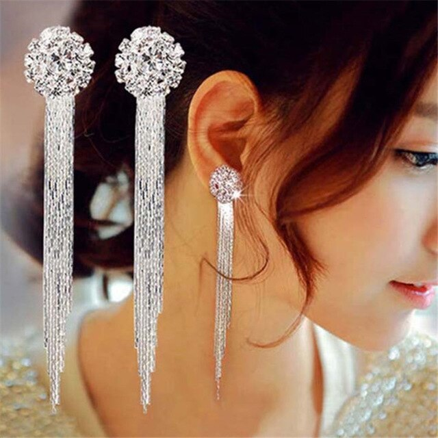 hot Korean Fashion Jewelry Personality Temperament Crystal Tassel Earrings Bridal Earrings For Women Long Earrings  Oorbellen