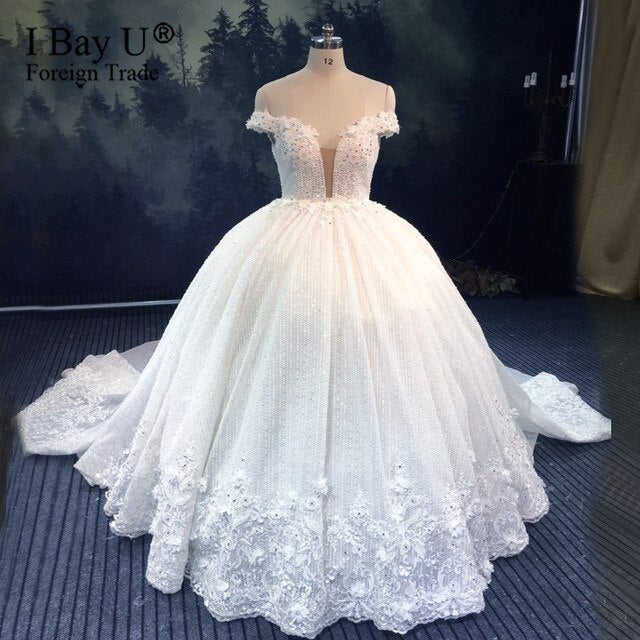 Luxury Vestidos Beaded Crystal Arabic Bridal Dress for Wedding 2020 Off Shoulder Dubai Wedding Gown robe de soirée de mariage