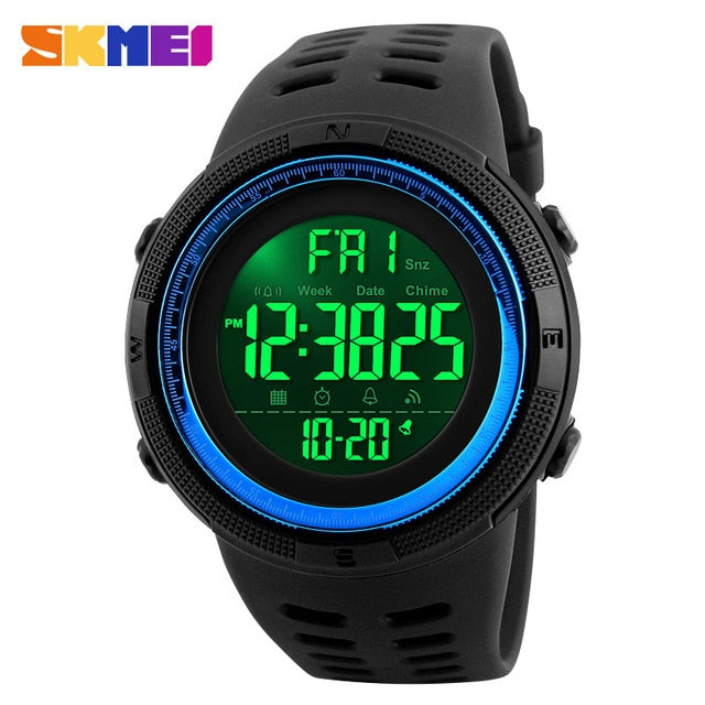 SKMEI Men Sport Watches Waterproof Shock Resistant Countdown Fashion Man Clock Watch Digital Wristwatches Relogio Masculino 1251