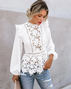 New Women Floral Lace Blouses Boho Long Sleeve White Top Ladies Ruffle Hollow Out Shirt Elegant Blouse Summer Streetwear S-XL