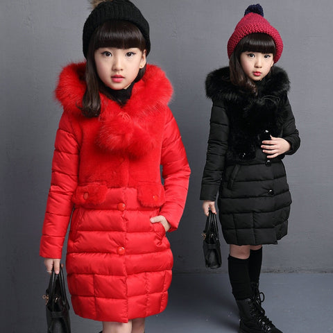 Winter Girls Jackets Fashion Fur Collar Kid's Outerwear Coat Clothes Long Design Toddler Children Clothes Down Parkas