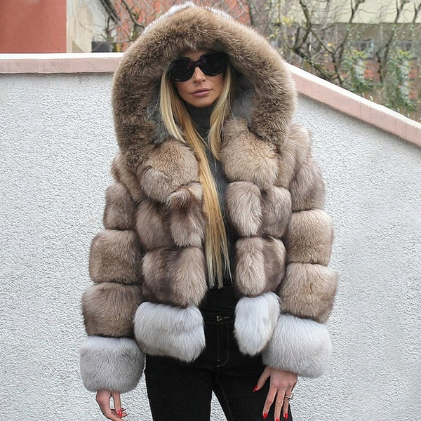 FURSARCAR Women Real Blue Silver Fox Fur Coats With Hood Patchwork Female Winter Jacket For Lady Genuine Natural Fur Hoodie