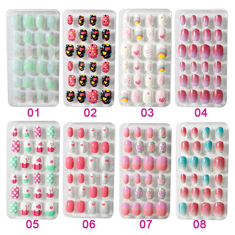 24PCS/Lot Candy False Nail Tips  Press On Children Cartoon Full Cover Kid Glue Self  Fake Nail Art for Girls Manicure Tips T345