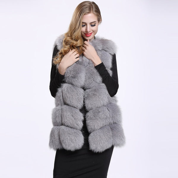 FURSARCAR 70cm Long Real Fox Fur Vest For Women Genuine Leather Coats Winter Female Fox Fur Jacket Luxury Outerwear Customize