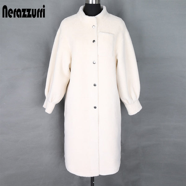 Nerazzurri winter teddy coat woman long white faux fur coat stand collar fluffy teddy bear jacket plus size faux sheepskin coat