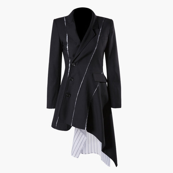 [EAM] 2020 New Spring Autumn Lapel Long Sleeve Black Striped Irregular Button Split Joint Loose Jacket Women Coat Fashion JQ681