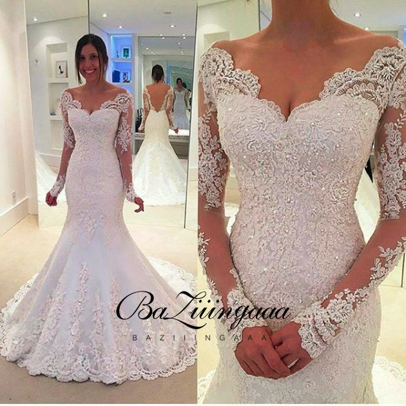 Elegant Lace Mermaid Wedding Dress Full Floral Print Lace Up Church Suitable for Wedding Africa Europe Americas Bride