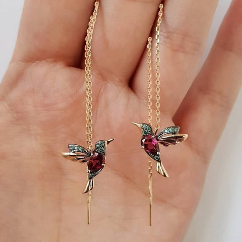 1 Pair Unique Long Drop Earrings Bird Pendant Tassel Crystal Pendant Earrings Ladies Jewelry Design 2 Colors Hummingbird Earring