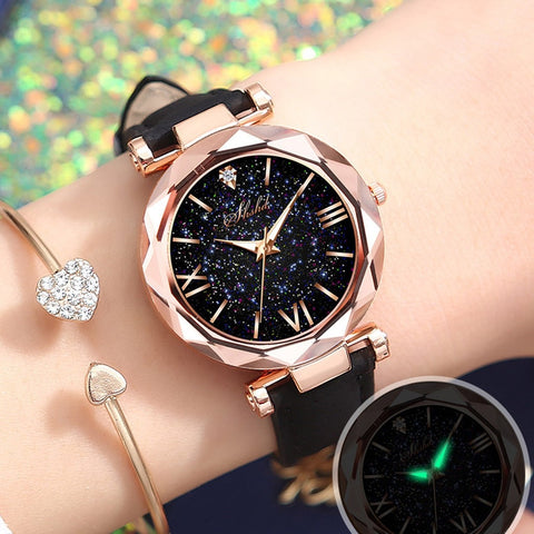 2020 Women Watch Unisex Stars Little Point Frosted Belt Watch Ladies Dotted With Roman Scale Watch Reloj Mujer Zegarek Damski