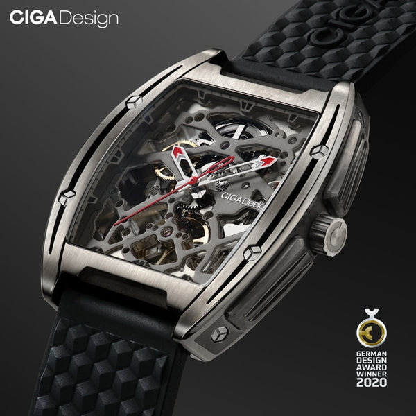 CIGA DESIGN Watch Titanium Case Automatic Mechanical Wristwatch Silicone Strap Timepiece (With One Leather Strap For Free)