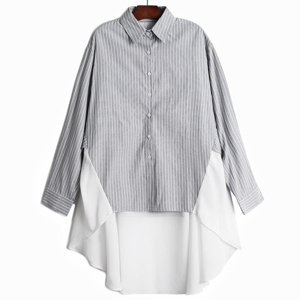 [EAM] Women Purple Striped Chiffon Big Size Blouse New Lapel Long Sleeve Loose Fit Shirt Fashion Tide Spring Autumn 2020 1Z129
