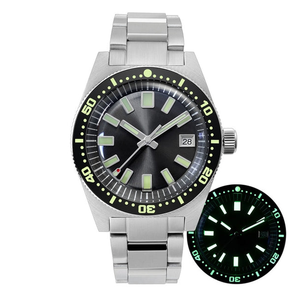 San Martin 62mas Sapphire 3D Hexagon Logo Diver Watch NH35A Automatic Men Mechanical Watches Date 20Bar Waterproof Full Luminous