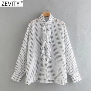 ZEVITY women sweet ruffled collar print casual smock blouse shirt women cascading ruffle chic blusa business chiffon tops LS7161