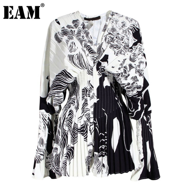 [EAM] Women Pattern Printed Big Size Blouse New V-collarLong Sleeve Loose Fit Shirt Fashion Tide Spring Autumn 2020 1W32609
