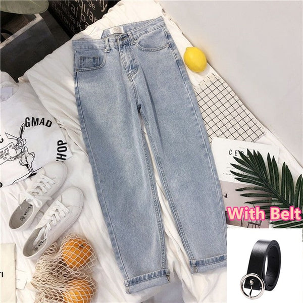 Vintage High Waist Jeans Women Solid Straight Pants Loose Casual  High Street Denim Trousers Pantalon Femme Plus Size With Belt