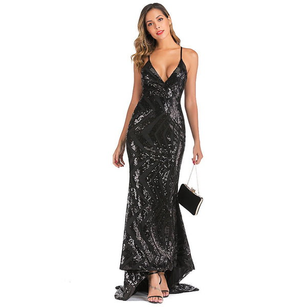Sequined Strap Sexy Dress Top Quality Elegant Fashion Vintage Evneing Party Dresses Long