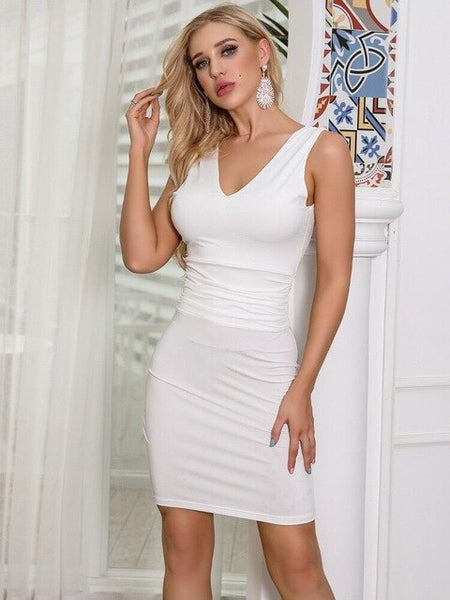 Sexy White Women Dress Top Quality Night CLub Fashion V Neck Bodycon Evneing Party Dresses