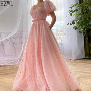 A-Line Baby Pink Tulle Formal Evneing Dresses Hearty Dots Puffy Sleeves Ribbon Belt Girls Prom Dress Party Gowns vestidos