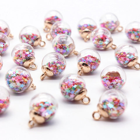 10pcs 15.5mm Round glass ball transparent colored pentagram sequins Christmas ornaments DIY earrings jewelry pendant accessories