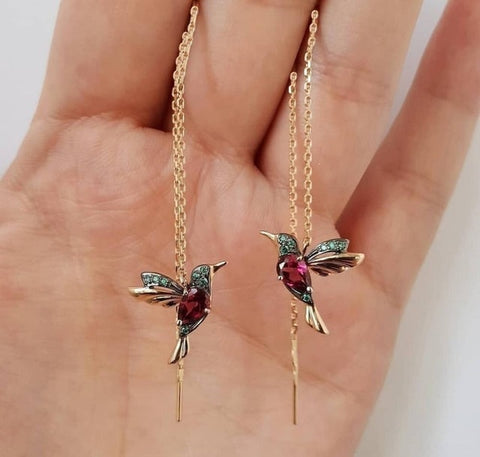 NPKDS 2 Style Elegant Birdie Ear Stud Earrings Rhinestone Dangle Long Tassels Earring for Women Hoop earrings Wedding Jewelry