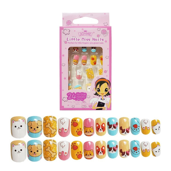 24PCS Press on Children Candy False Nail Tips Cartoon Full Cover Kid Pink Fake Nail Art for Little Girls 14 Design Manicure Tool