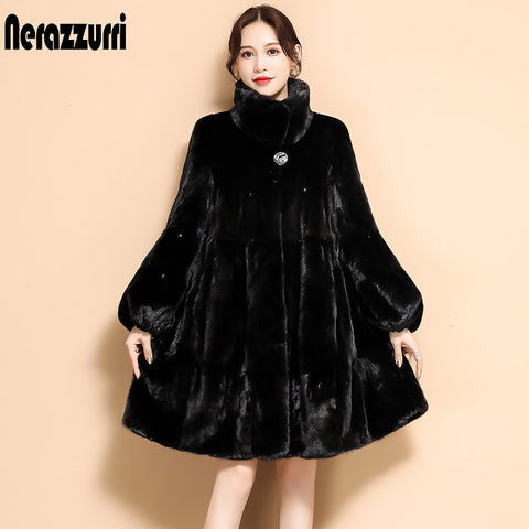 Nerazzurri Winter black pleated faux fur coat long flare sleeve stand collar Skirted soft plus size fluffy faux fur jacket women