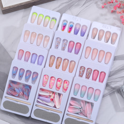 24pcs/Set Detachable Long Coffin Fake Nails European Rainbow Ballerina Full Nail Art Tips Colorful Beauty Artificial False Nails