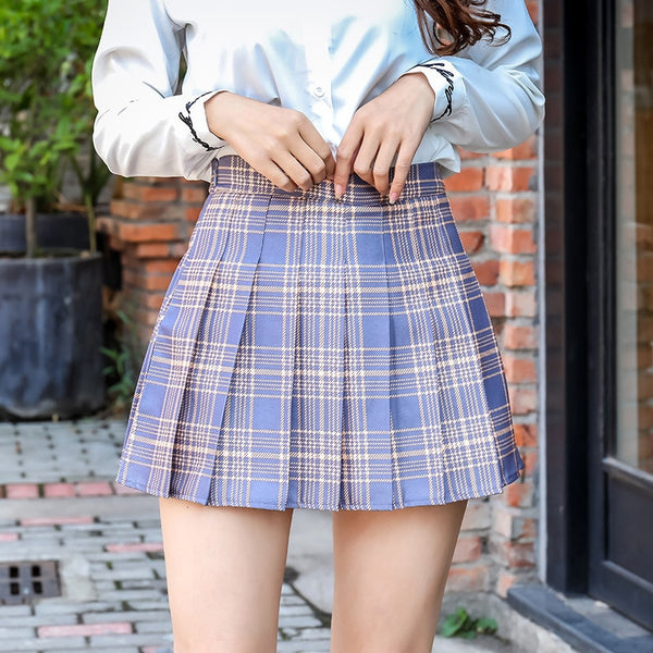 Plaid Summer Women Skirt 2020 High Waist Stitching Student Pleated Skirts Women Cute Sweet Girls Dance Mini Skirt XS-3XL