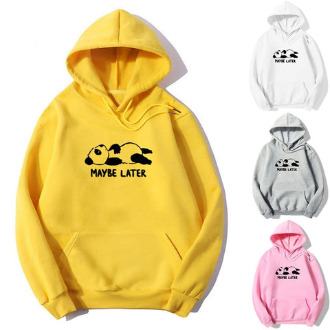 CHAMSGEND Womens Long Sleeve Letter Print Panda Hoodies Drawstring Pullover Pocket Sweatshirts ropa de mujer hot selling